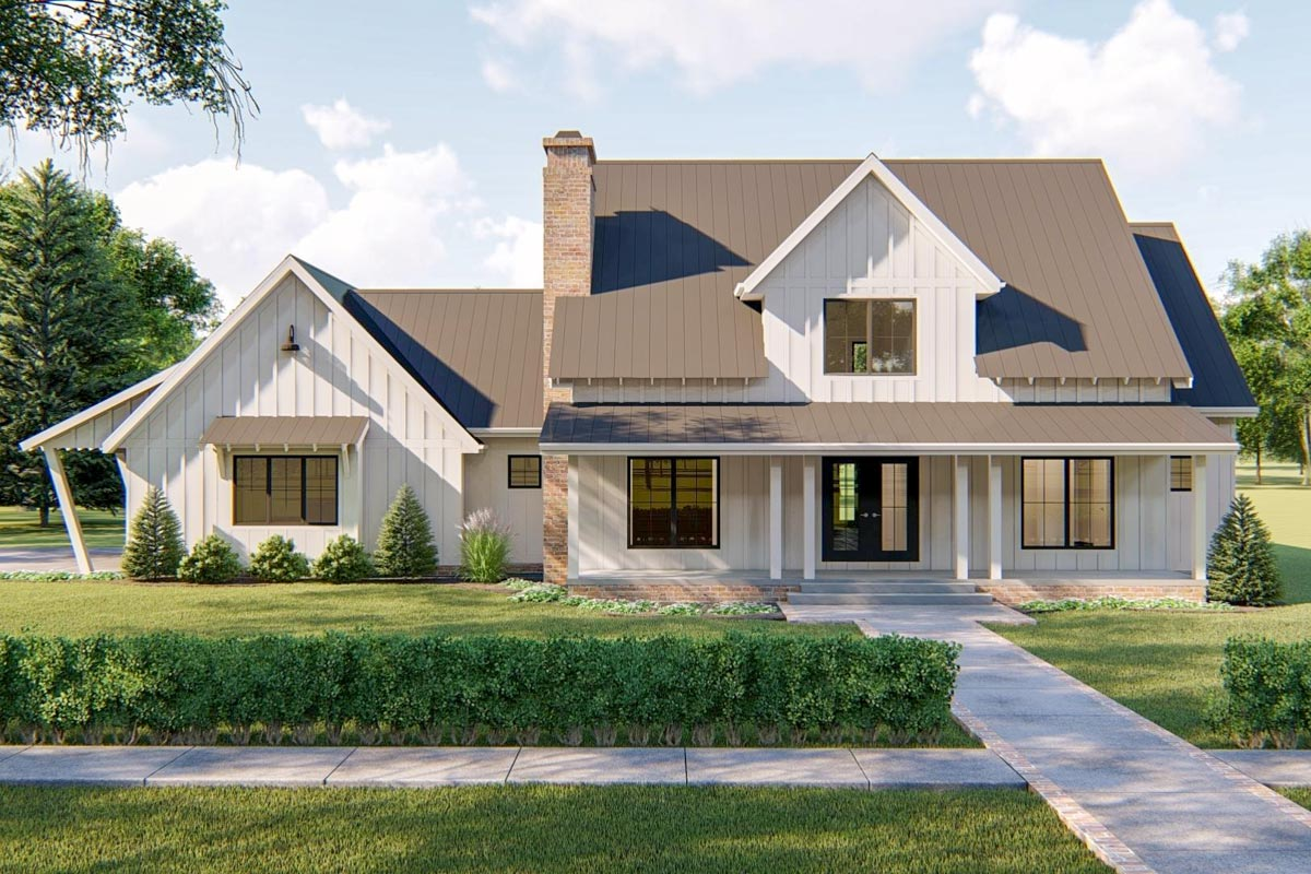 Modern Farmhouse Plan With 2-Car Side Load Garage ...