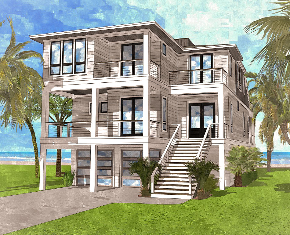 Coastal Contemporary House Plan with Rooftop Deck ...