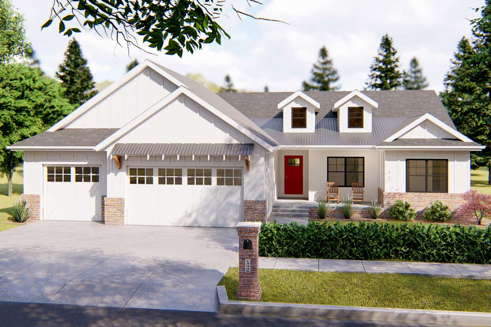 One-Story Modern Farmhouse Plan with Vaulted Great Room ...