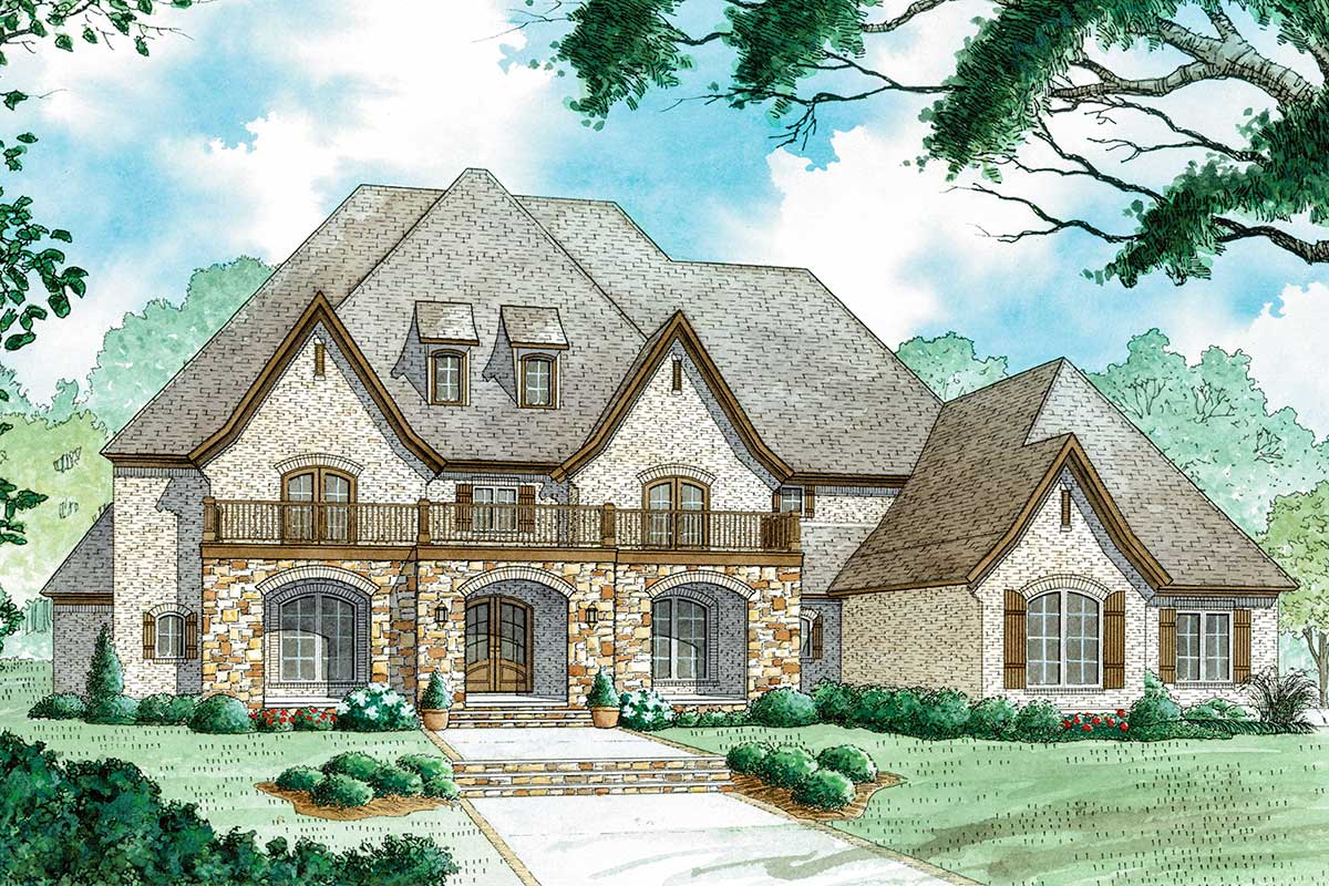 Stunning 4 Bed House Plan with Upstairs Balcony 70579MK