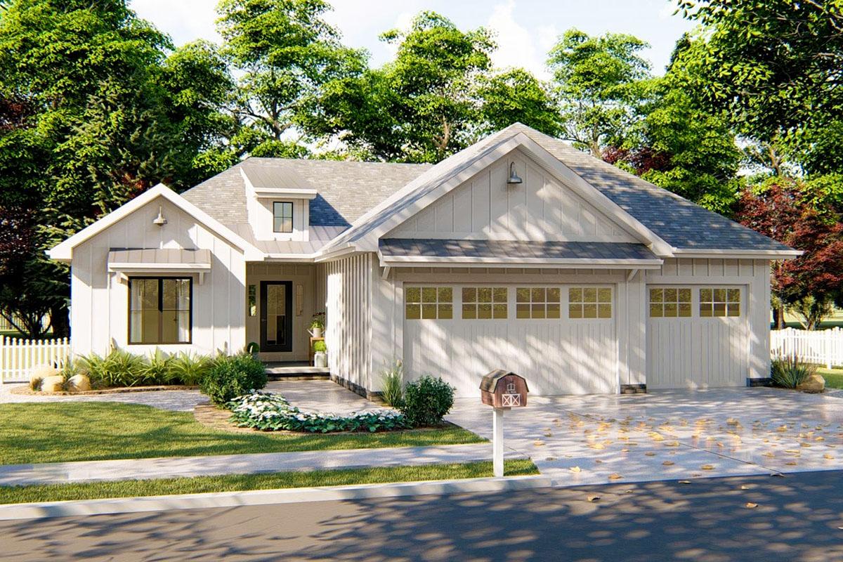 3-Bed Modern Farmhouse Ranch Home Plan - 62732DJ ...