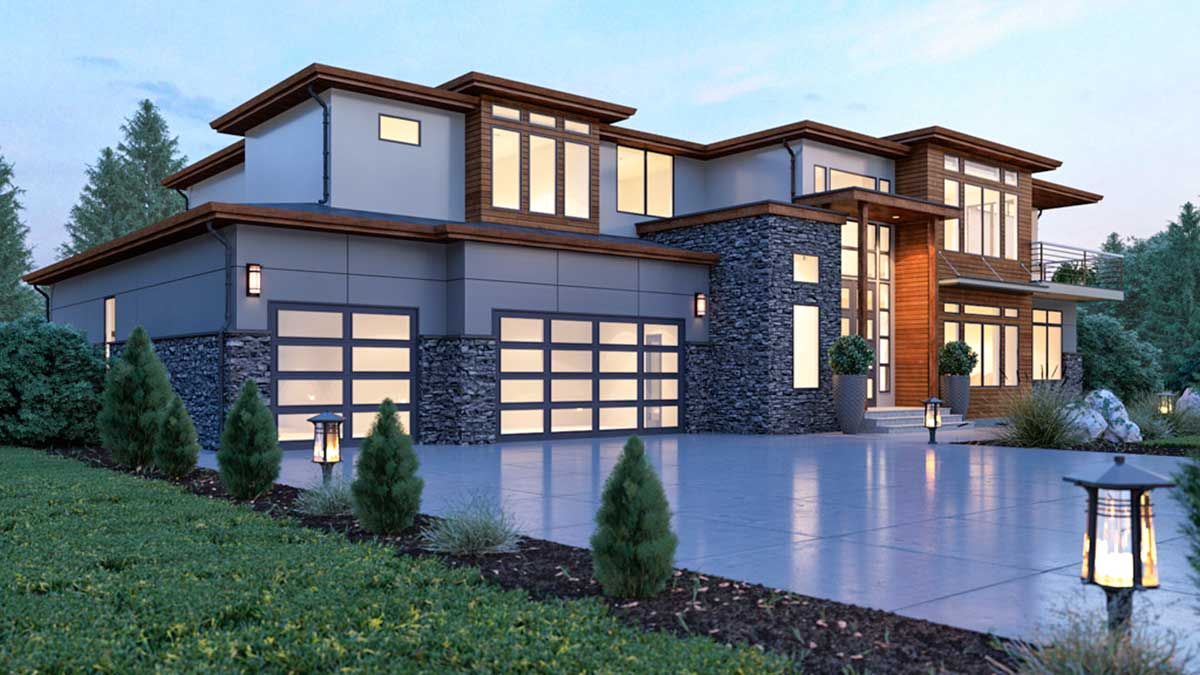 Modern House Plan with 2-Story Ceilings and Walls of Glass ...