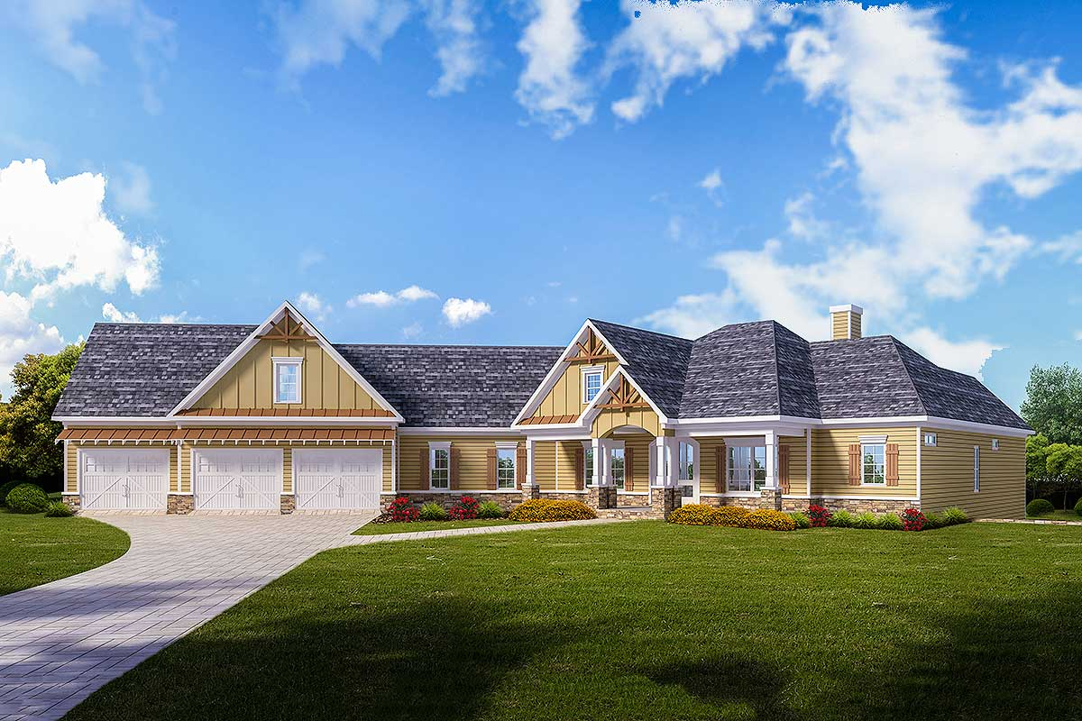 Country Craftsman Home Plan with 3 Car Angled Garage