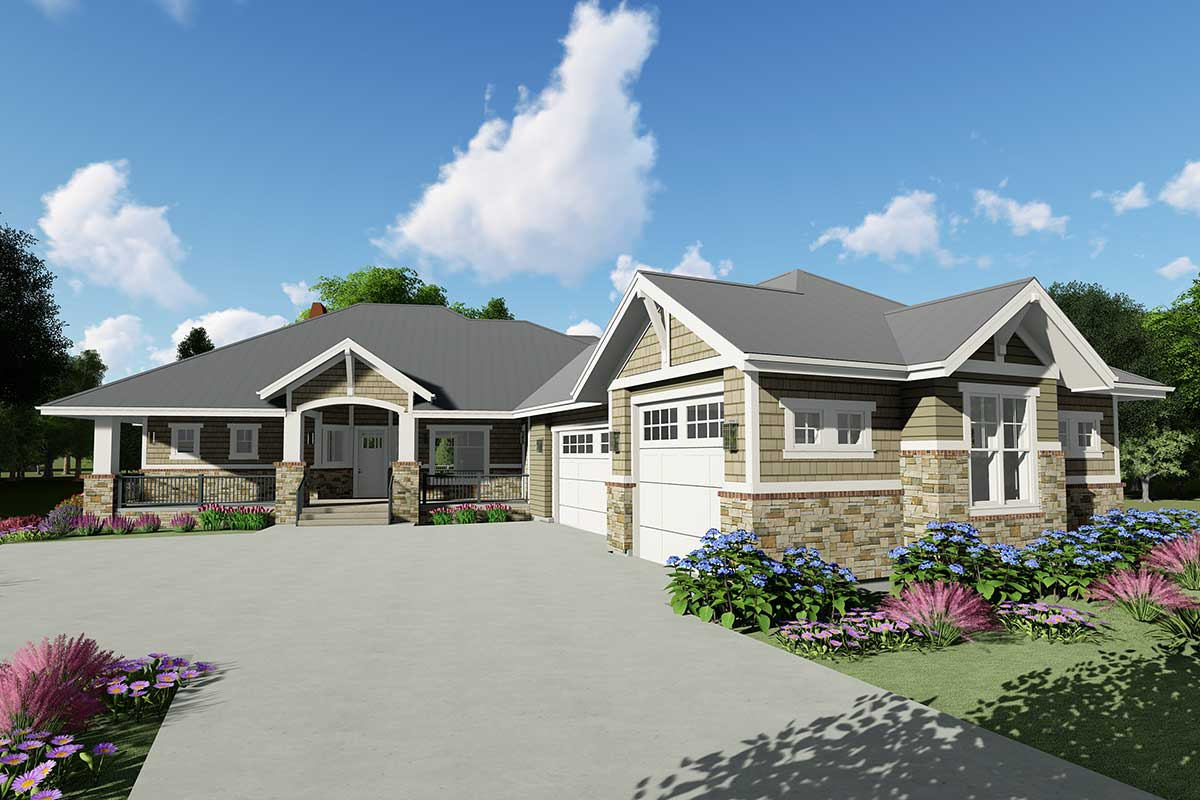 Downsized Craftsman Ranch Home Plan With Angled Garage
