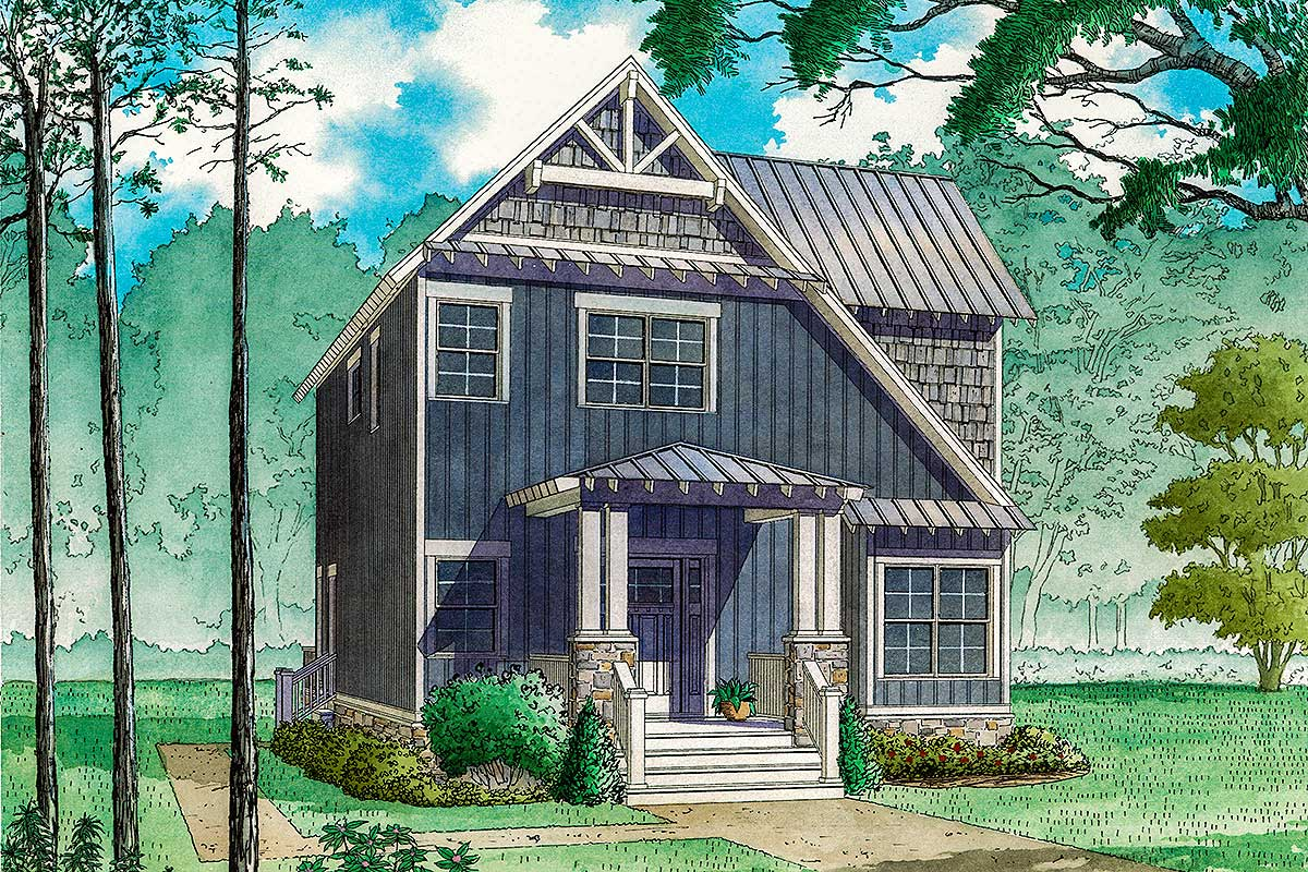 Eclectic 3 Bed Cottage House Plan With Sleeping Loft