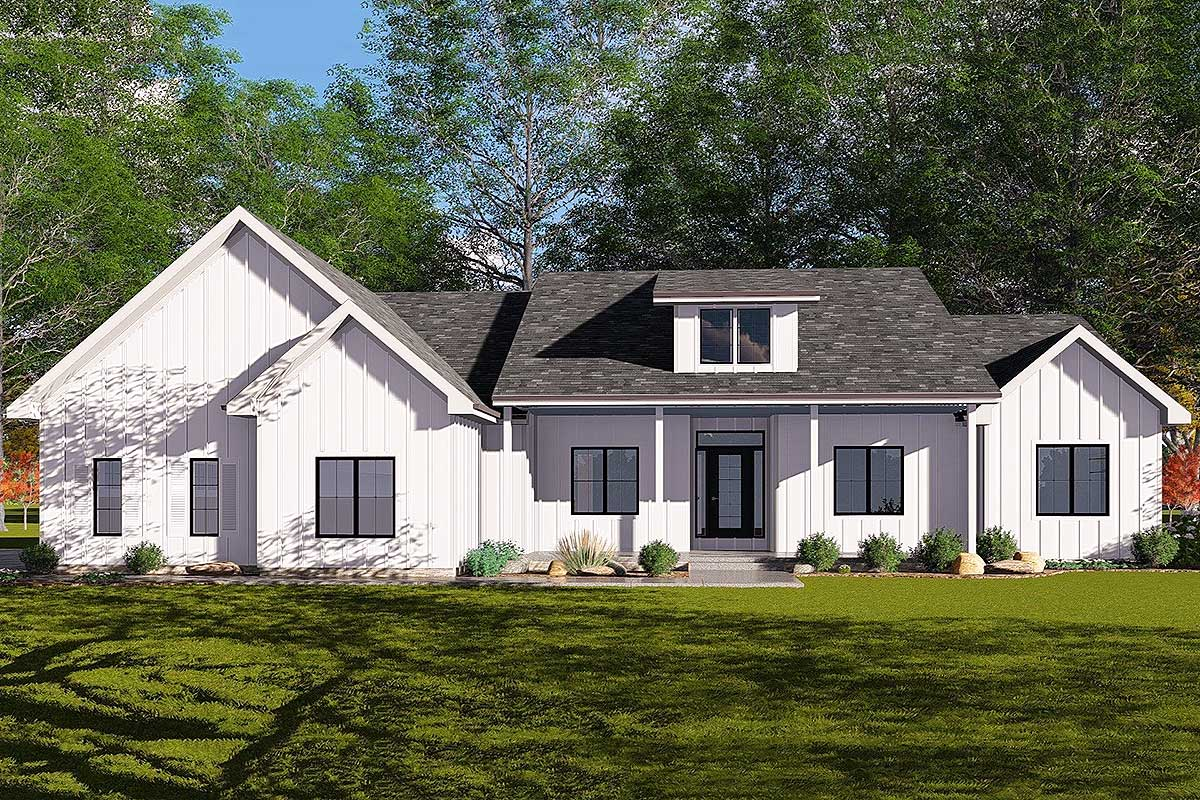 3-Bed Modern Farmhouse Plan with Cathedral Ceilings ...