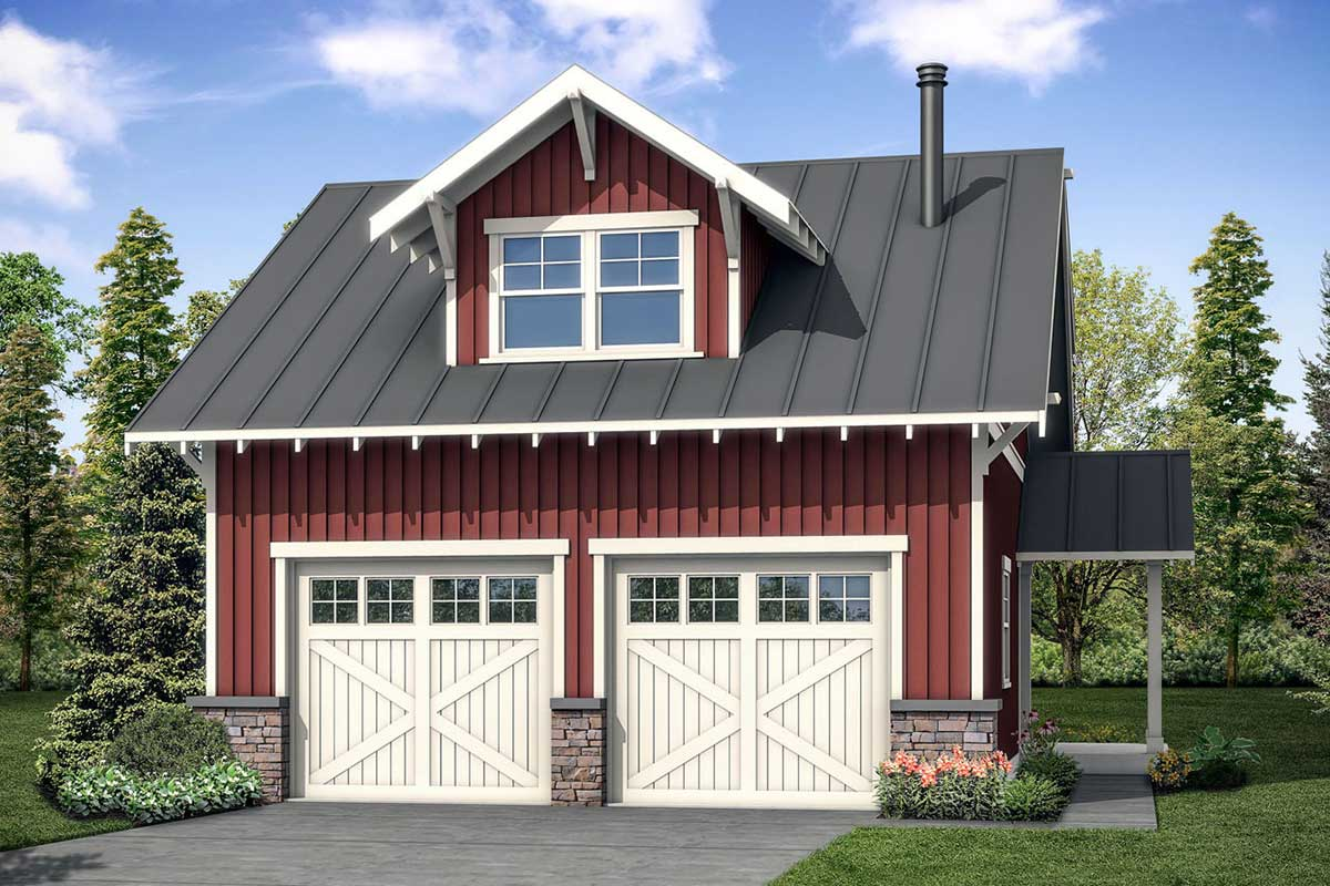 Flexible 2-Car Detached Garage Plan