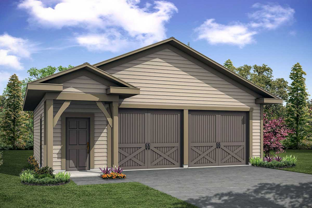 Detached Garage Plan With Half Bath
