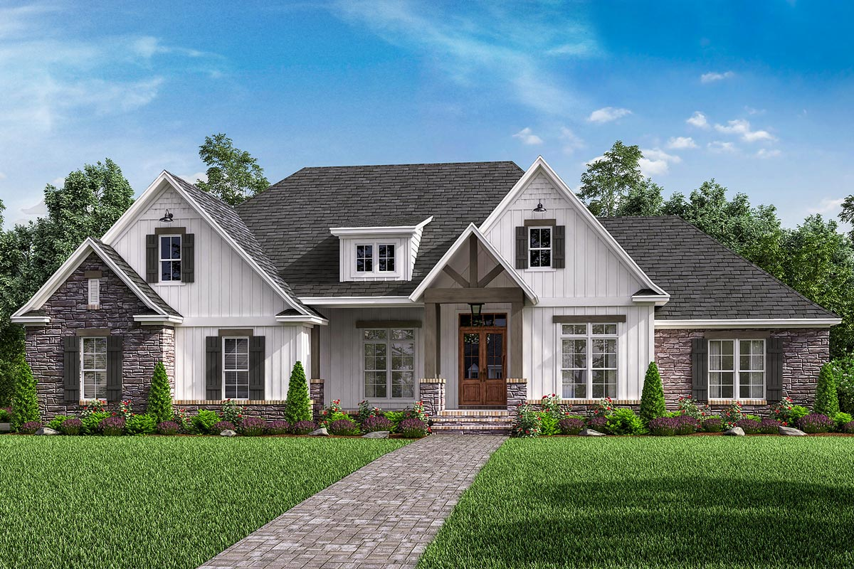 Open-Concept 4-Bed Craftsman Home Plan with Bonus Over ...