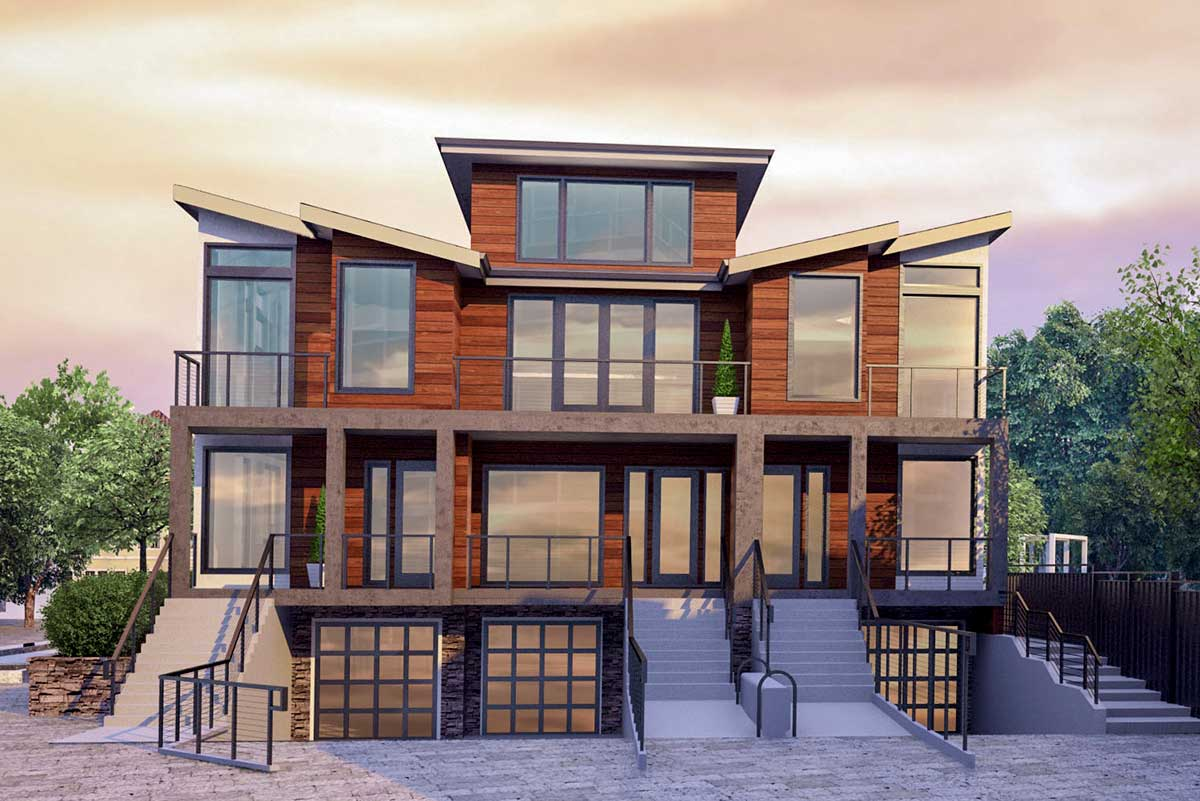 Modern Triplex House Plan with Drive-Under Parking ...