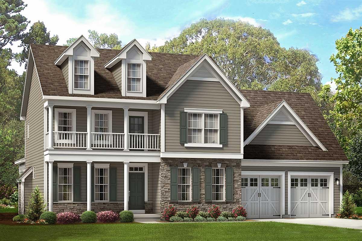 Colonial Farmhouse Plan With Open-Concept Main Floor