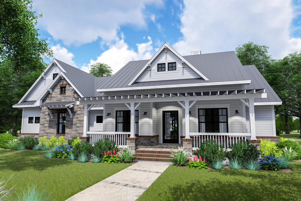 Modern Farmhouse with Side-load Garage and Optional Bonus ...