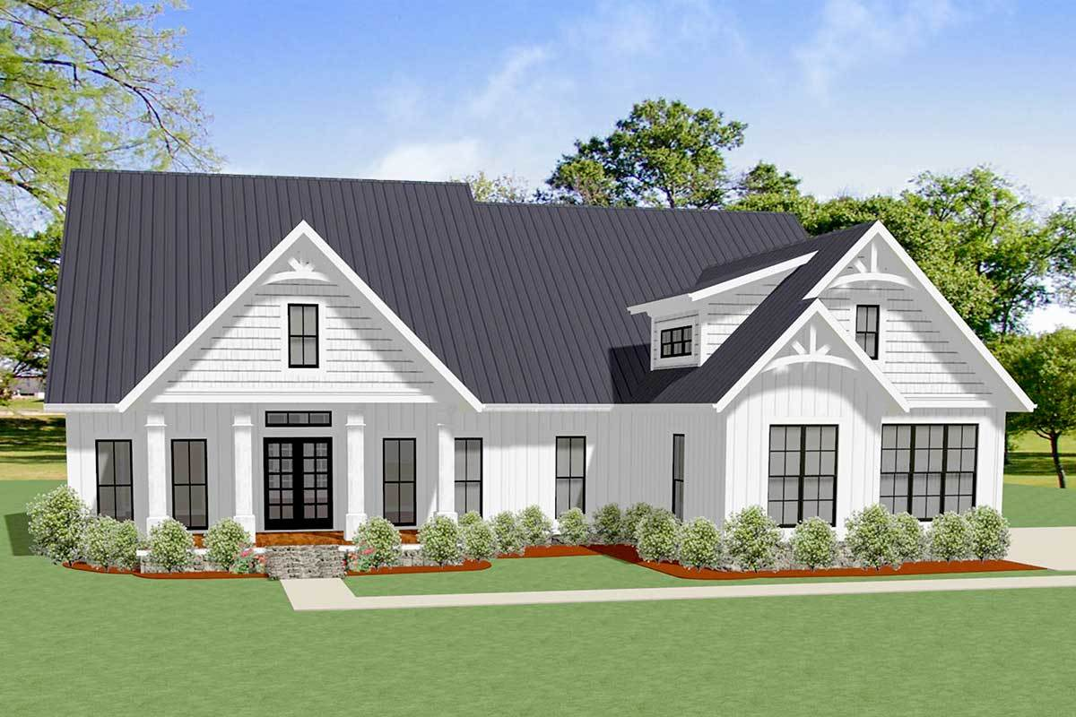 3 bed craftsman house plan with board and batten siding and bonus expansion 46341la architectural designs house plans