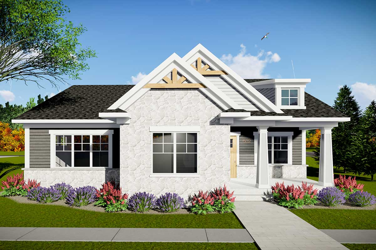 Two Bedroom Modern Craftsman House Plan with Rear Entry Garage - 890078AH  Architectural