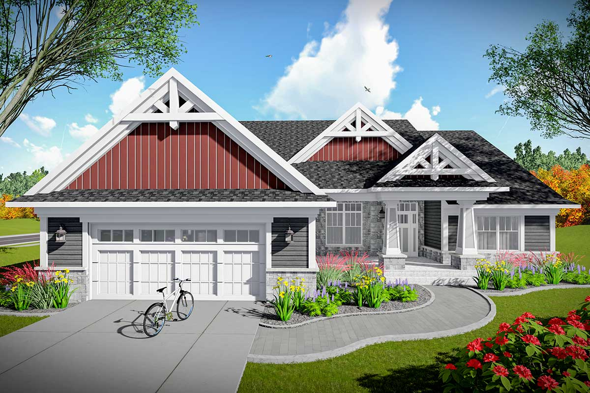 2 Bed Craftsman Home Plan With Open Concept Design