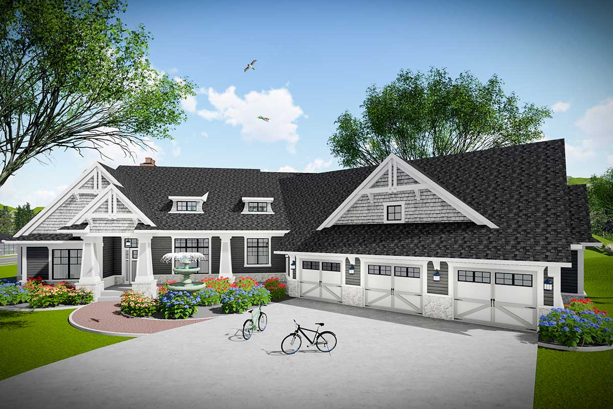 3 Bed Modern Farmhouse Ranch with Angled 3 Car Garage