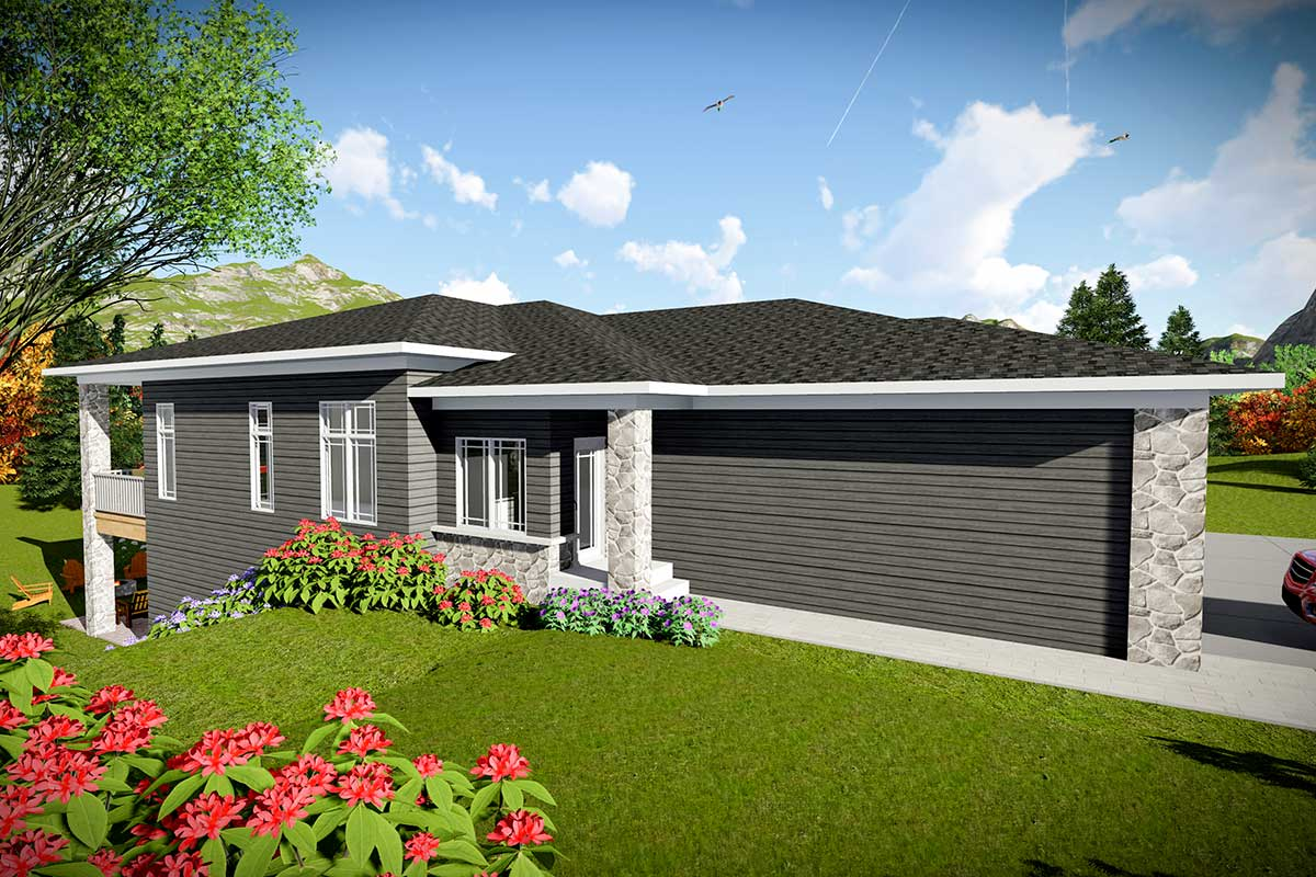 Modern Duplex House Plan for a Rear Sloping Lot - 890093AH ...