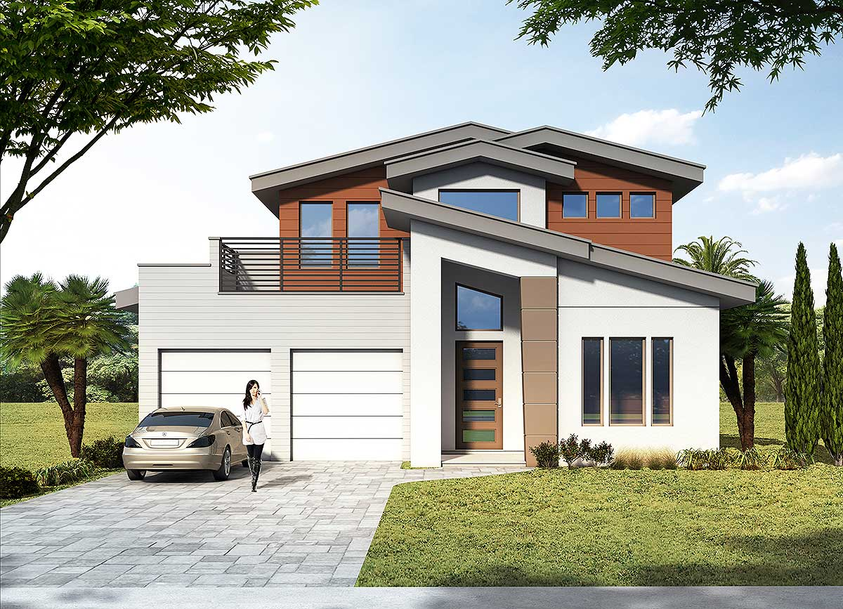 3 Bed Modern House Plan with Upstairs Outdoor Balcony