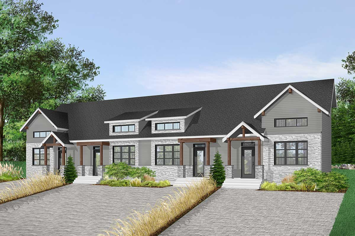 4-Unit Modern Rustic Multi-Family House Plan - 22524DR ...