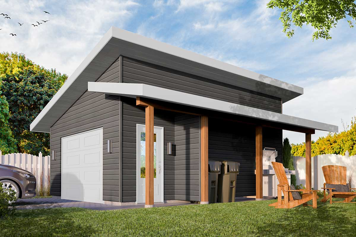 Modern Detached Garage Plan with Shed Roof Porch - 22527DR ...