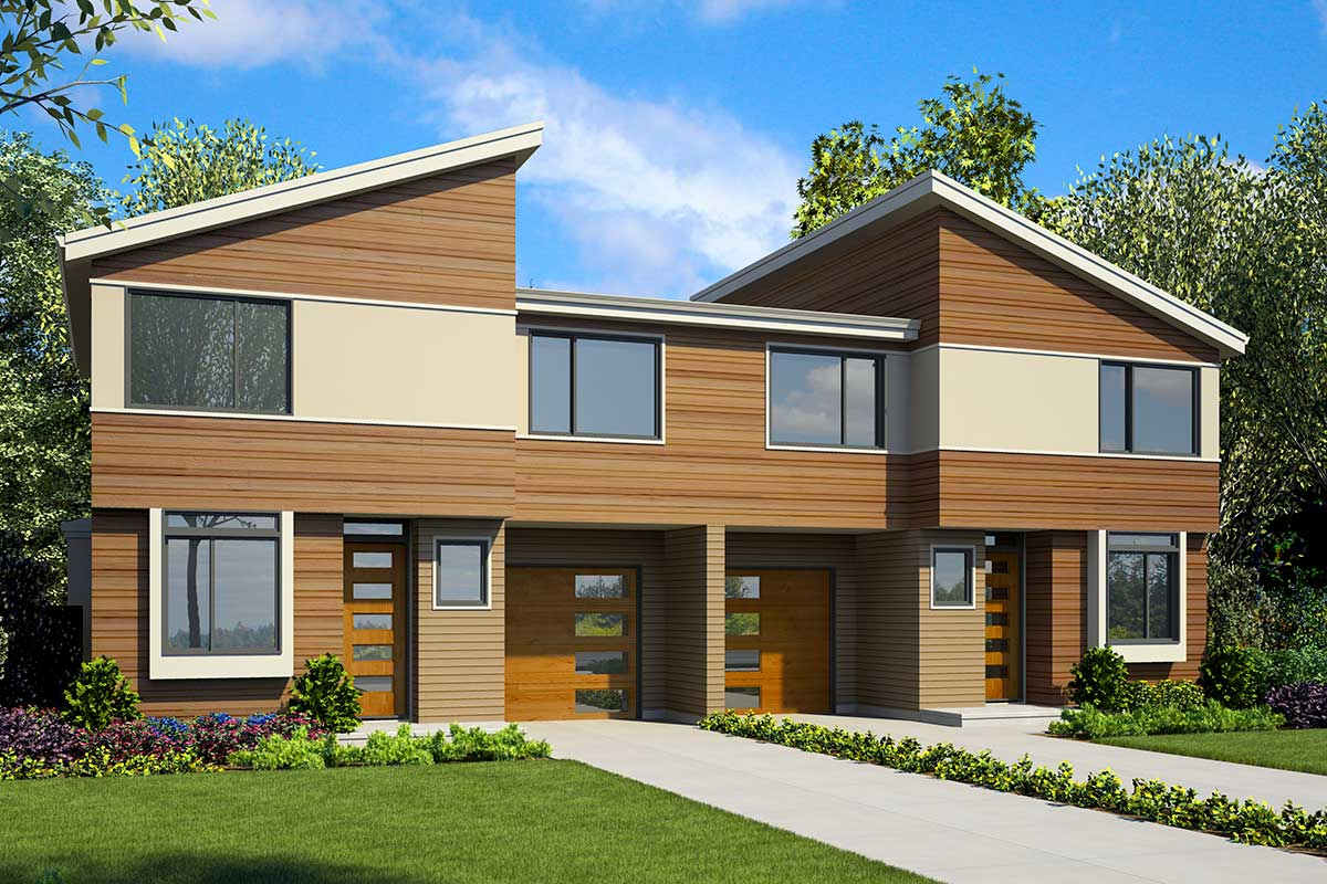 Modern Duplex House Plan with Symmetrical 3-Bed Units ...
