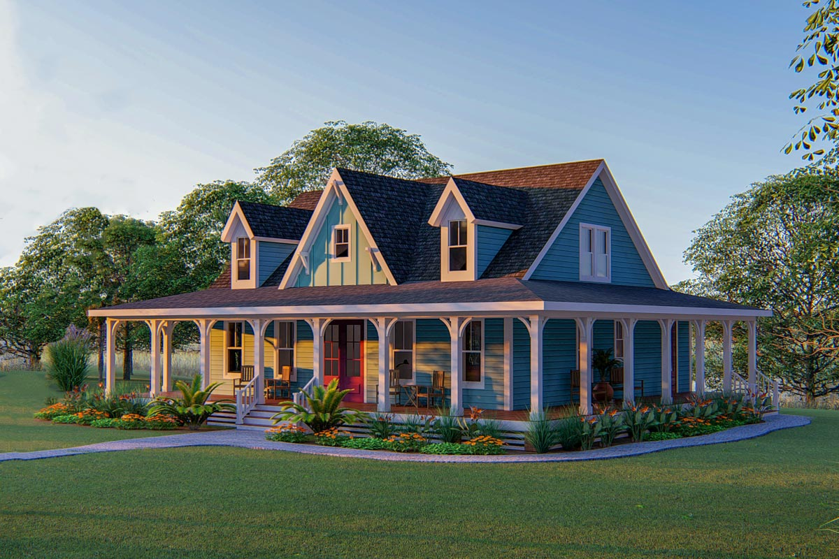 3 Bed Country Home Plan With 3 Sided Wraparound Porch