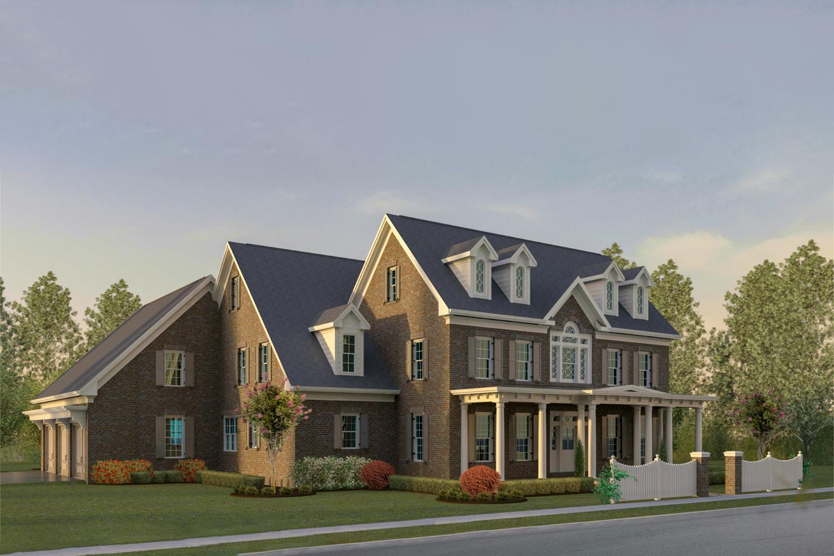4-Bedroom Colonial Home Plan with Main-Floor Study and 3 ...