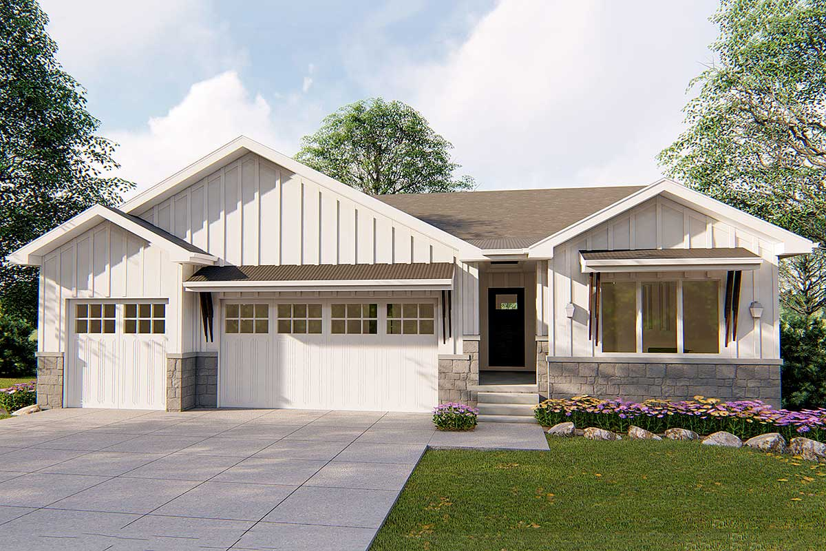 Affordable 1-Story Modern Prairie Ranch Home Plan ...