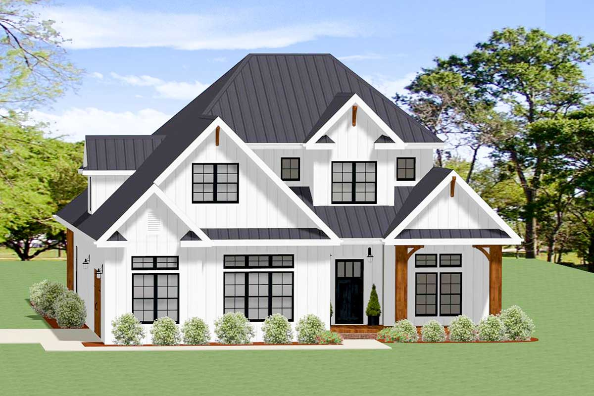 3-Bed Modern Country Home Plan with Kitchen Open to ...