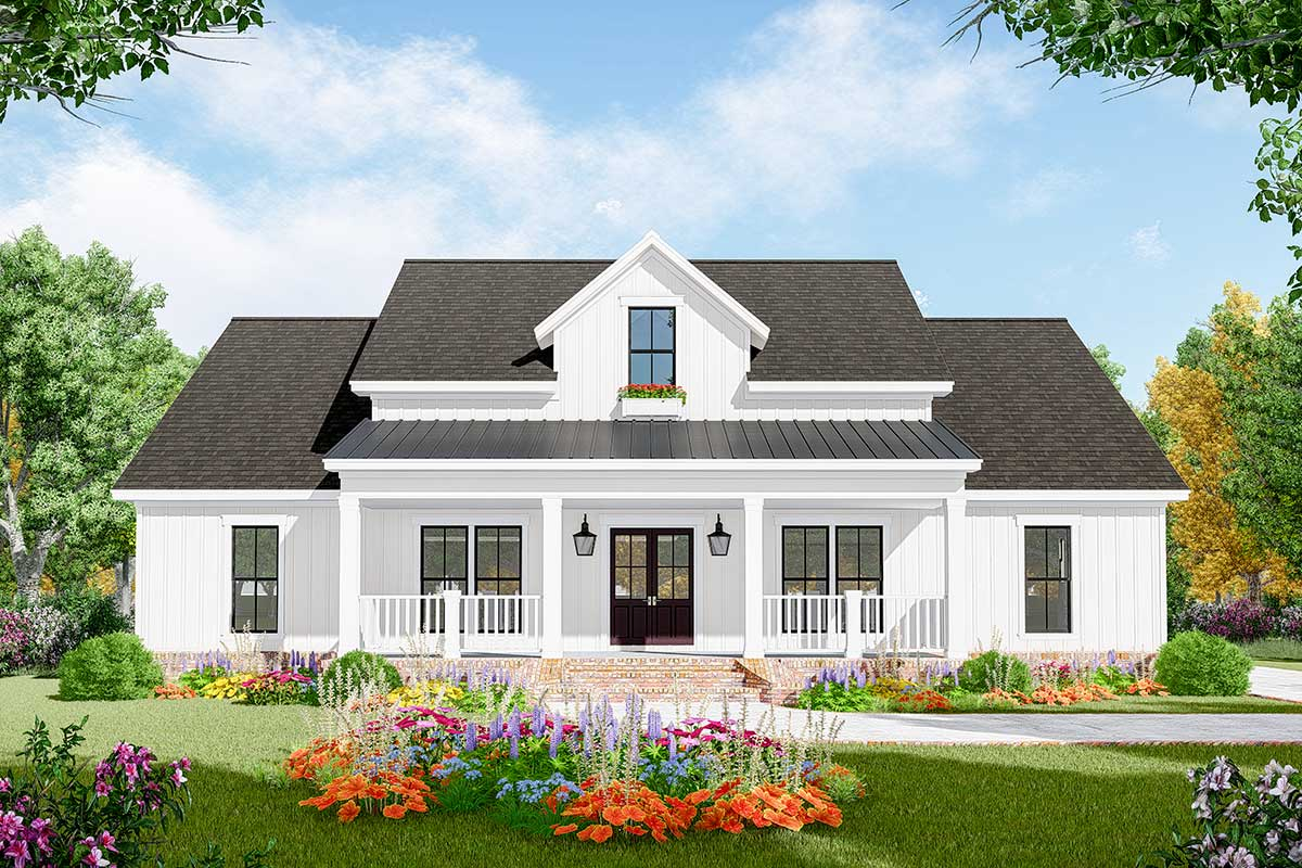 Open Concept 3-Bed Modern Farmhouse Plan - 51186MM ...