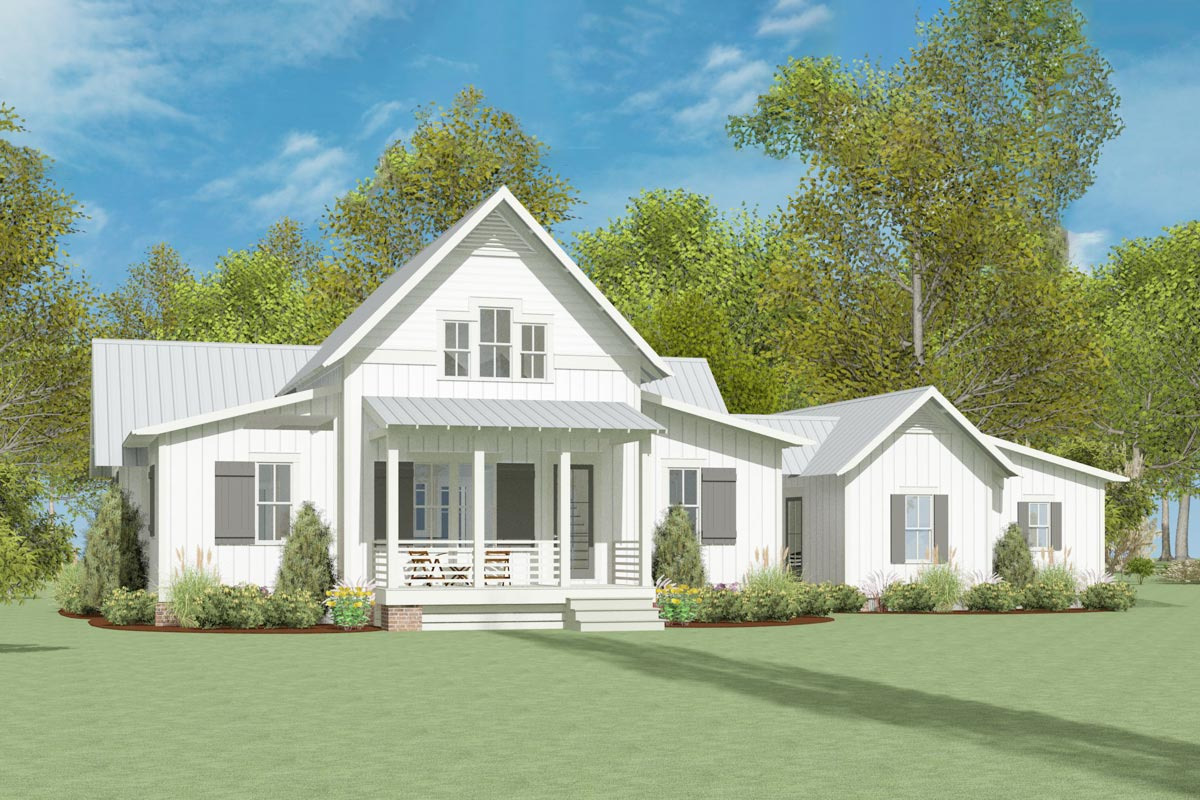 Exclusive Modern Farmhouse Plan With Breezeway Attached