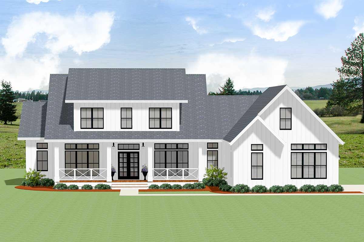 4-Bed Modern Farmhouse Plan with Big Shed Dormer - 46348LA ...