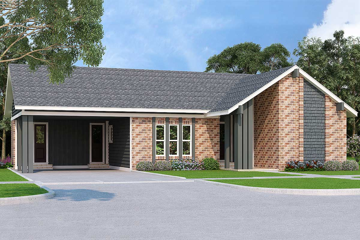 3-Bedroom Single-Story Modern House Plan - 55203BR ...