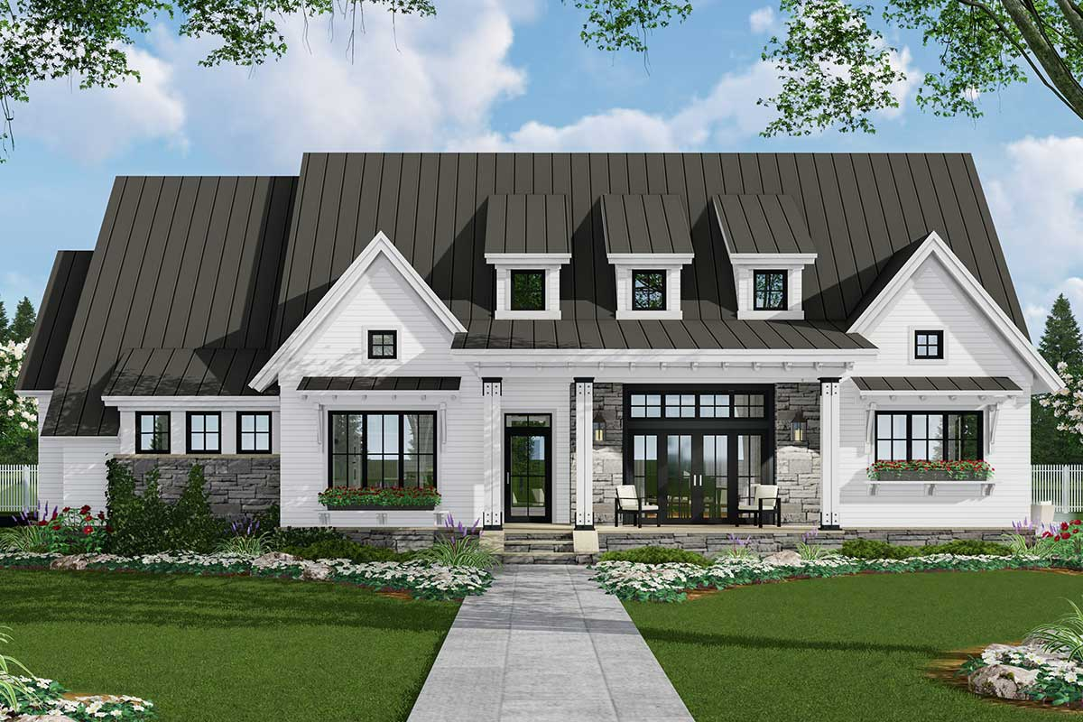 14668RK 01 1569342363 - Get 3 Bedroom Single Story Modern House Floor Plans Background