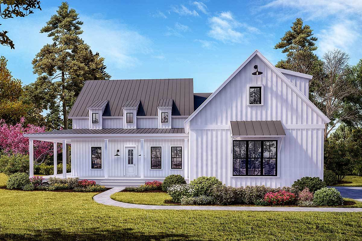 Modern farmhouse plan with 3 shed dormers and a wraparound porch 25647ge architectural designs house plans