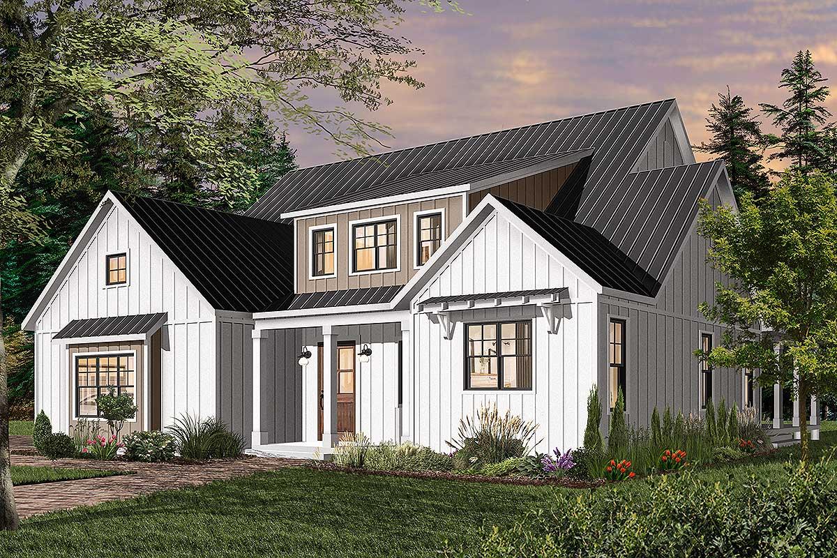 Split-Bedroom Modern Farmhouse Plan with Main-Floor Master ...