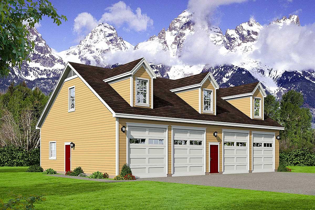 4 Car Detached Garage With Open Loft Above 68548vr
