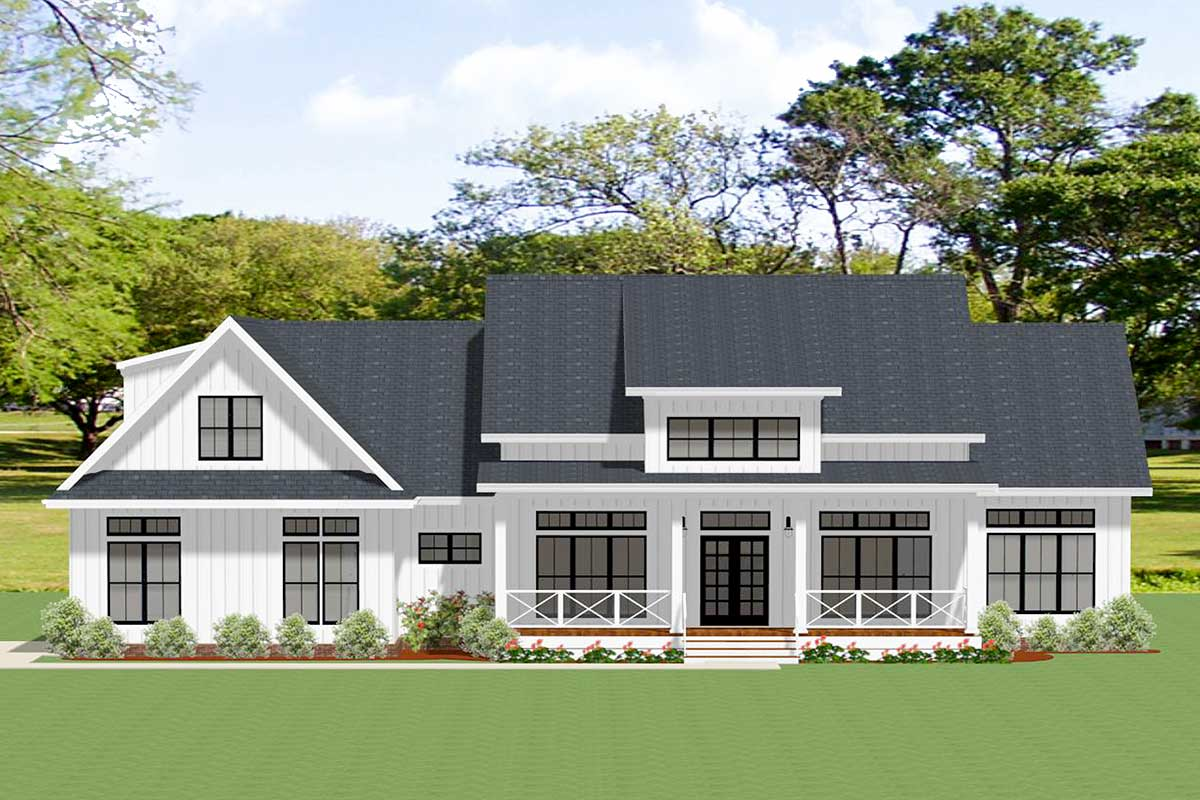 4-Bedroom Farmhouse Plan with Private Upstairs Office ...