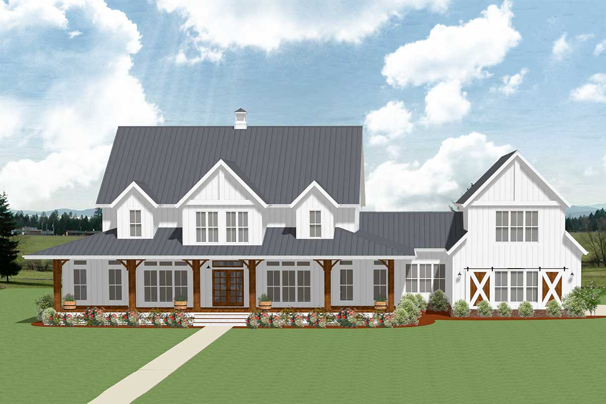 5-Bedroom Farmhouse Plan with Optional Garage Loft ...