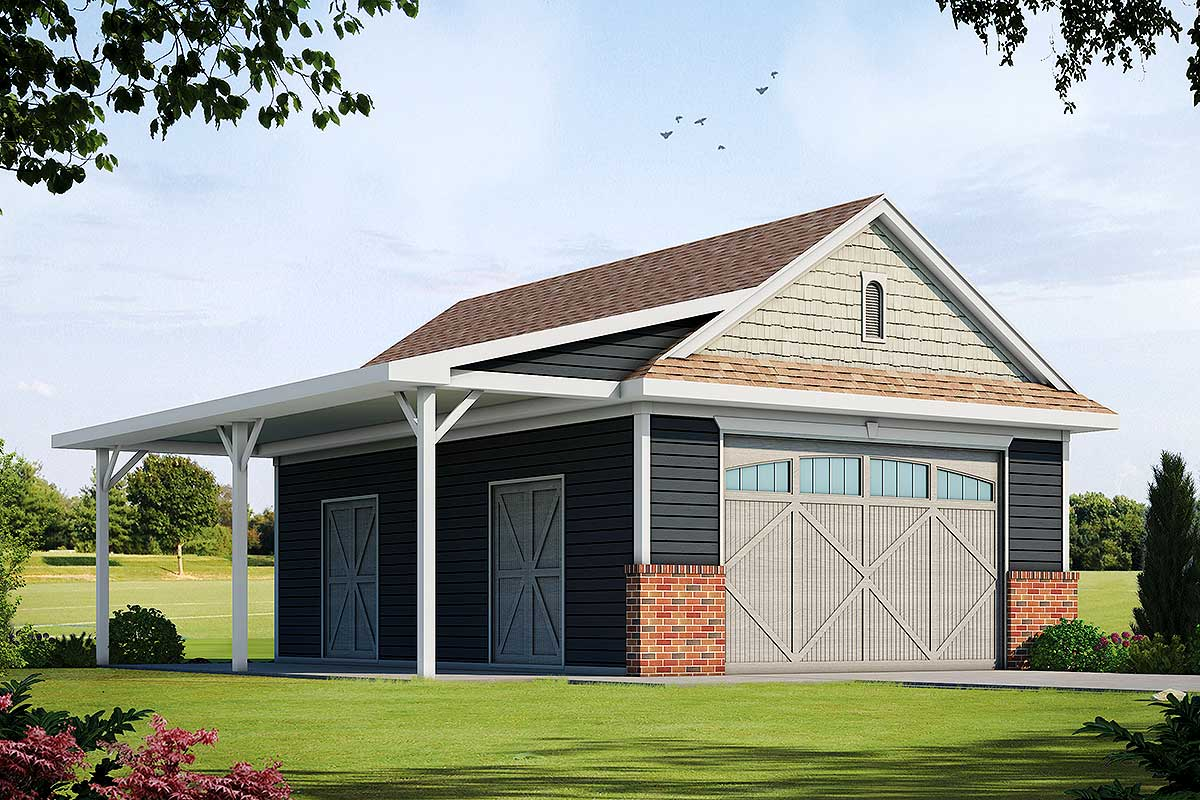 Detached Garage Plan With Barn-Like Doors And Covered