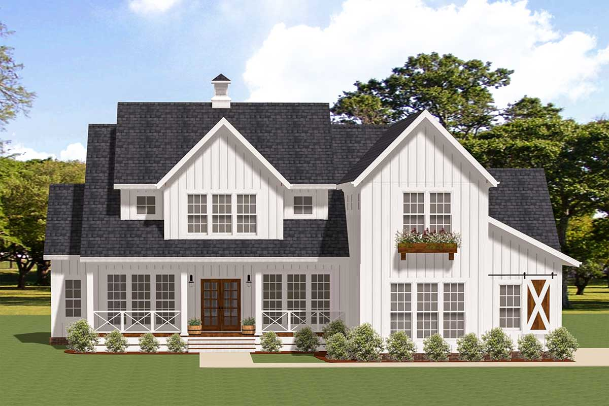 Modern Farmhouse Plan with Ample Outdoor Living Space ... on Farmhouse Outdoor Living Space id=28503