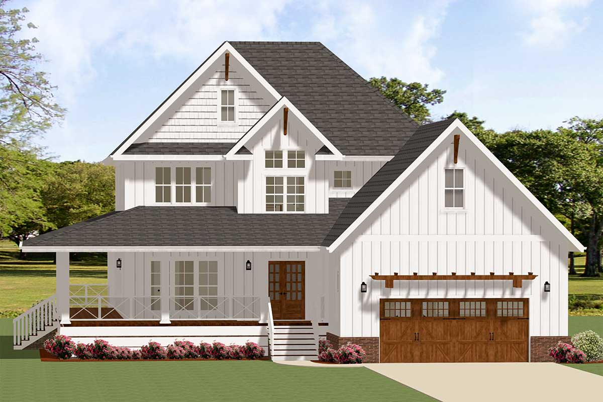 4 Bedroom Farmhouse Plan With Wraparound Front Porch