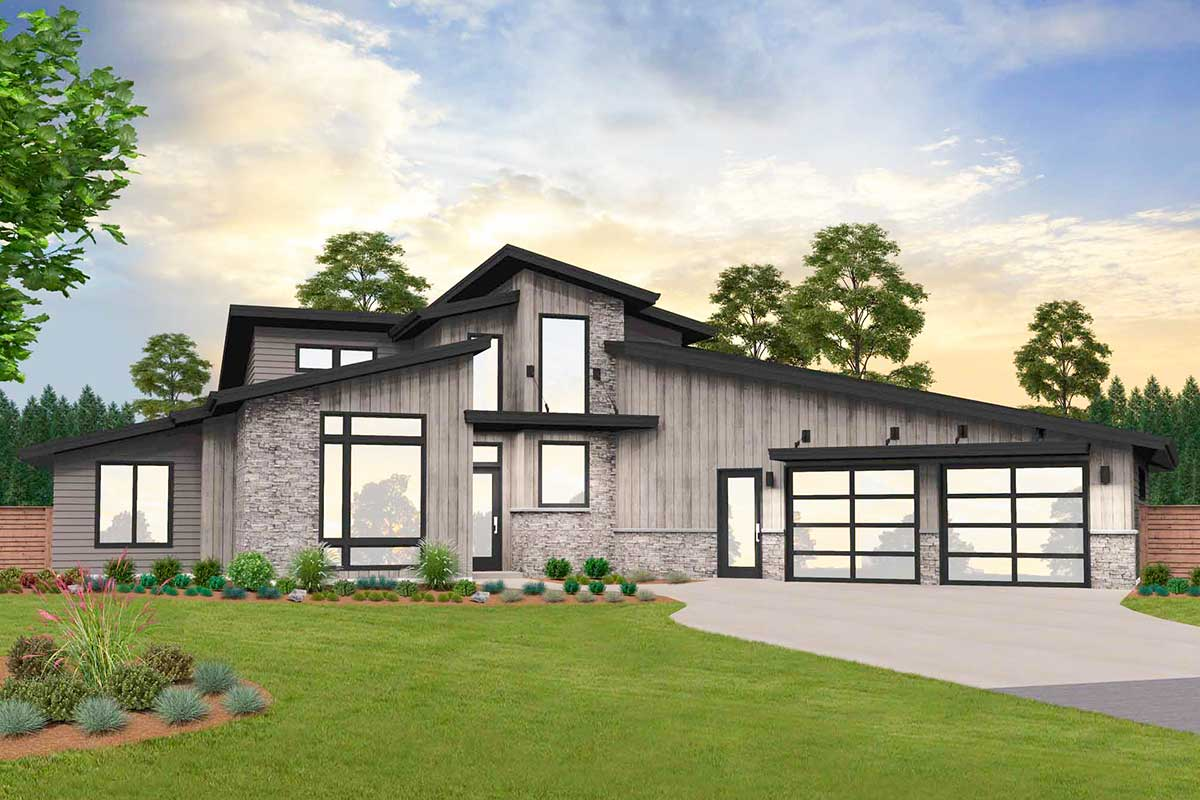 2-Story Modern Home Plan with Indoor Pool - 85270MS ...