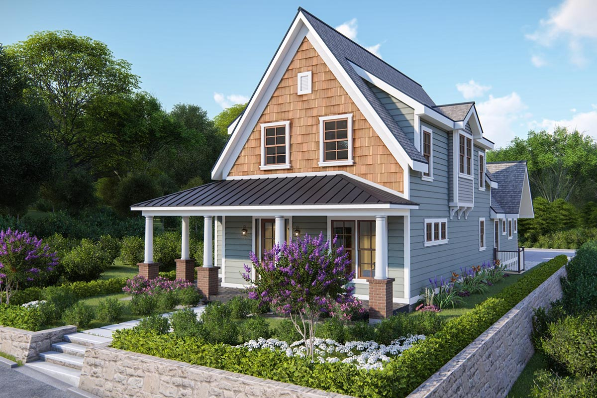 Charming 4-Bedroom Cottage Plan For Narrow Lot