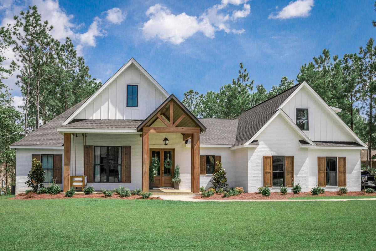 Country Home Designs: 4-Bed Southern French Country House Plan With 2-Car Garage