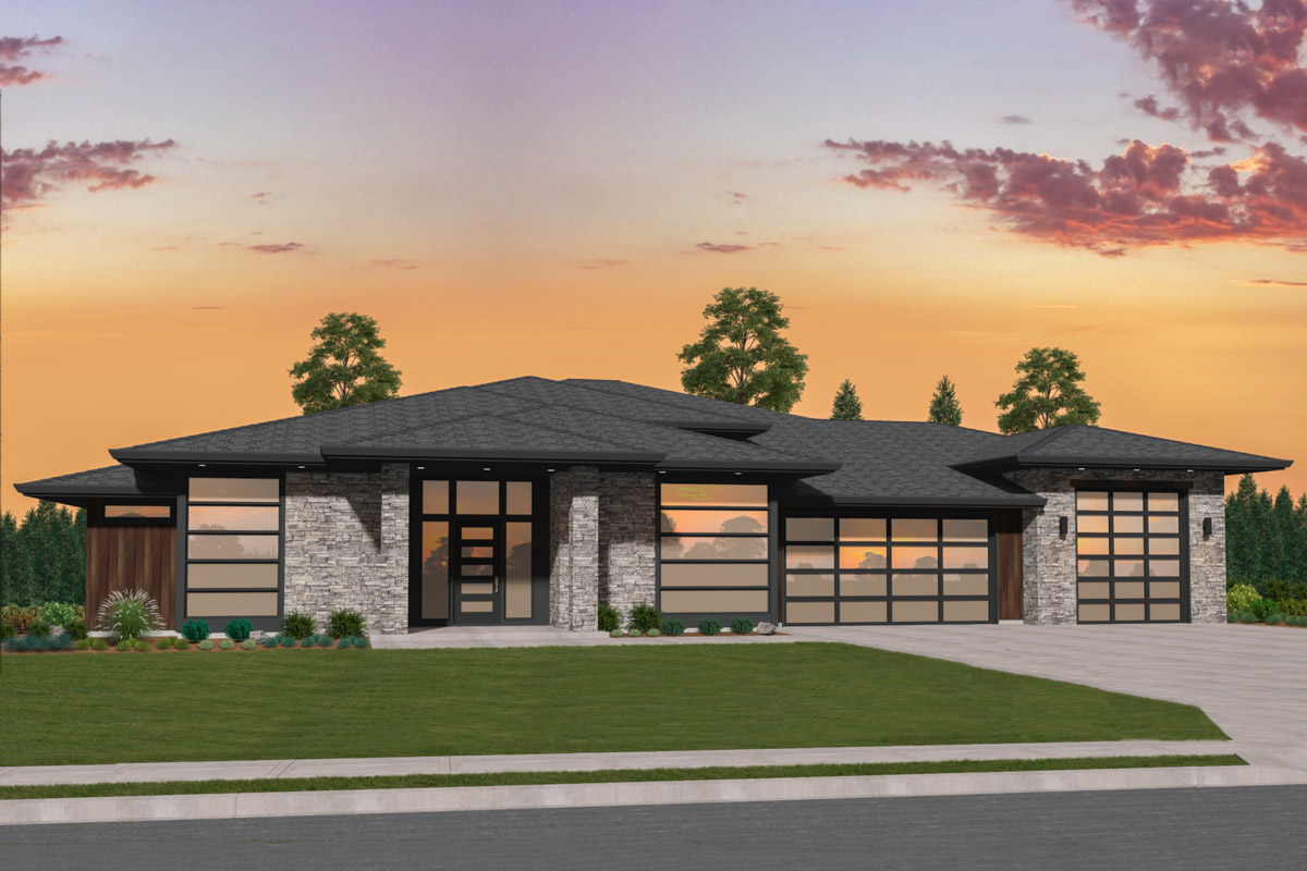 Exclusive Modern House Plan with Side Courtyard - 85274MS ...
