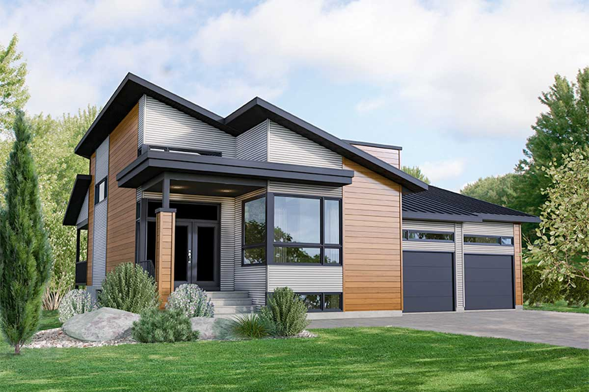 Modern 3-Bed House Plan With 2-Car Garage