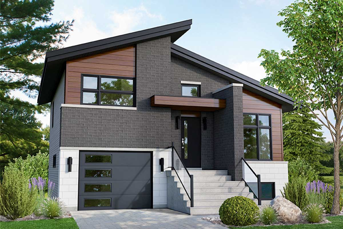 Modern 2-Bed Split Level Home Plan - 80915PM ...