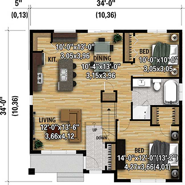 Plan 80933PM: Simple 2-Bed Modern House Plan