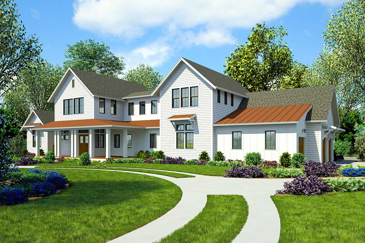 Sprawling Modern Farmhouse Plan with First-Floor Master ...